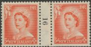 NZ Counter Coil Pair SG 727 1953 3d Queen Elizabeth II Join No. 16 (NCC/194)